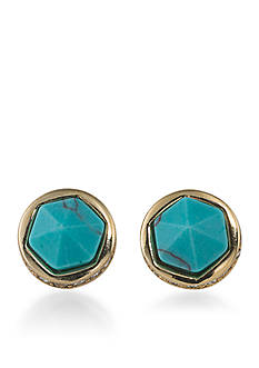 Lauren Ralph Lauren Gold-Tone Match Point Turquoise Round Stud Earrings