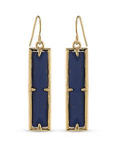 Lauren Ralph Lauren Gold-Tone Match Point Blue Rectangle Drop Earrings