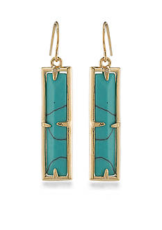 Lauren Ralph Lauren Gold-Tone Match Point Turquoise Rectangle Drop Earrings