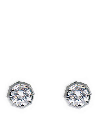 Lauren Ralph Lauren Hematite-Tone Hide and Chic Clear Stud Earrings