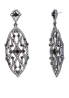 Lauren Ralph Lauren Hematite-Tone Estate Clear Chandelier Earrings