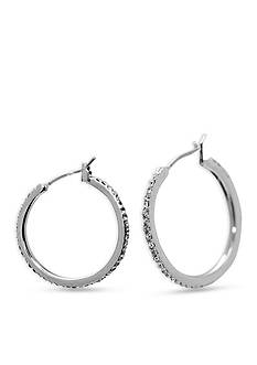 Lauren Ralph Lauren Social Set Medium Pave Hoop Pierced Earrings