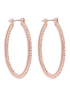 Lauren Ralph Lauren Rose Gold-Tone Palais Large Oval Pave Hoop Earrings