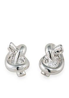Lauren Ralph Lauren Silver-Tone Smooth Operator Knot Stud Earrings