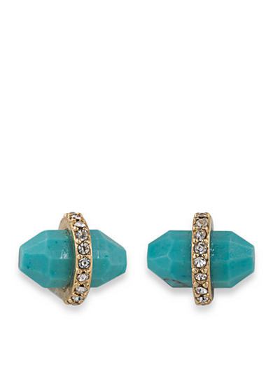 Lauren Ralph Lauren Gold-Tone Match Point Turquoise Bullet Stud Earrings