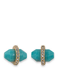 Lauren Ralph Lauren Gold-Tone Match Point Turquoise Bullet Stud Earrings
