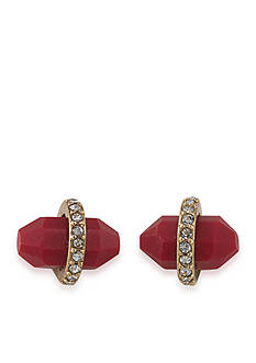 Lauren Ralph Lauren Gold-Tone Match Point Red Bullet Stud Earrings
