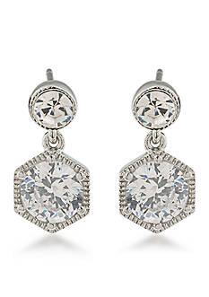 Lauren Ralph Lauren Silver-Tone Lauren Headlines Double Drop Pierced Earrings