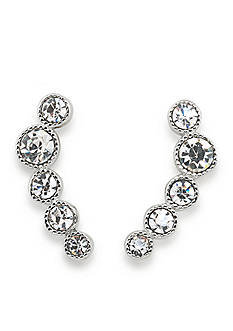 Lauren Ralph Lauren Silver-Tone Lauren Headlines Ear Climber Pierced Earrings
