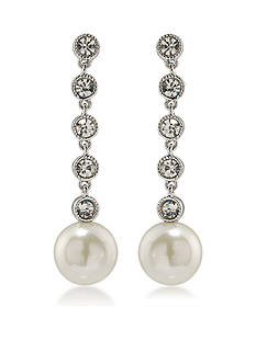 Lauren Ralph Lauren Silver-Tone Lauren Headlines Linear Pearl Drop Pierced Earrings