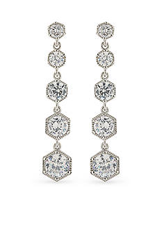 Lauren Ralph Lauren Silver-Tone Chic Long Hexagon Drop Earrings