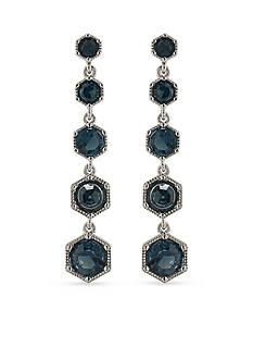 Lauren Ralph Lauren Lauren Headlines Blue Linear Hexagon Drop Pierced Earrings