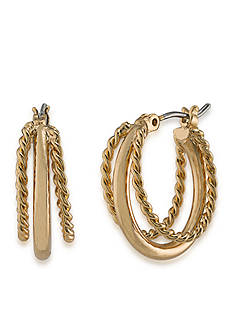 Lauren Ralph Lauren Feminine Gold-Tone Small Twisted Hoop Earrings