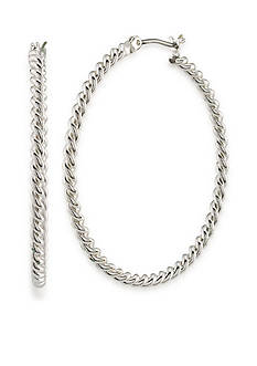 Lauren Ralph Lauren Silver-Tone Simple Large Twist Hoop Earrings