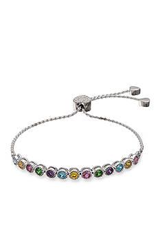 Belk Silverworks Fine Silver Plated Multi-Bright Cubic Zirconia Adjustable Bracelet