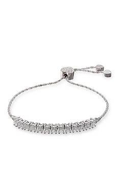 Belk Silverworks Fine Silver Plated Princess Cut Cubic Zirconia Adjustable Bracelet