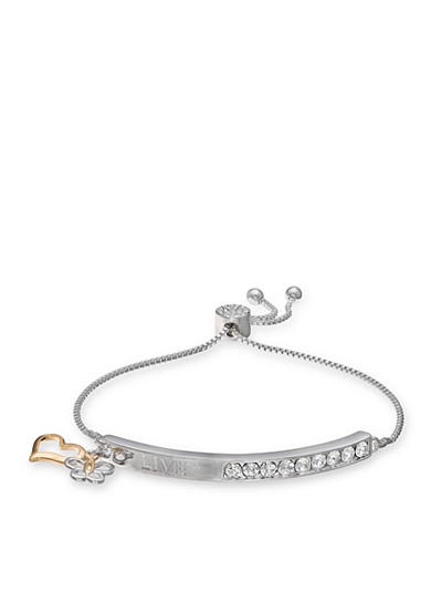 Belk Silverworks Multi-Tone Love Bar Adjustable Bracelet