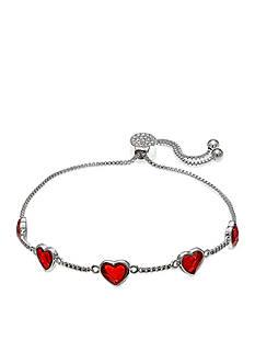 Belk Silverworks Fine Silver Plate Red Swarovski Heart Adjustable Bracelet