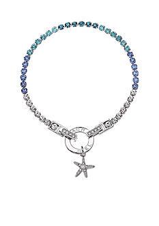 Belk Silverworks Fine Silver-Plated Multi Blue Crystal Starfish Tennis Bracelet