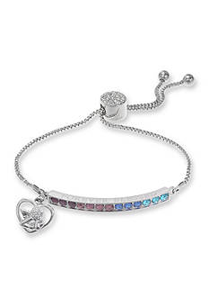Belk Silverworks Fine Silver Plate Multi Color Forever Blessing Angel Adjustable Bracelet