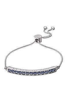 Belk Silverworks Fine Silver Plate Denim Blue 'My Mom My Love' Adjustable Bracelet