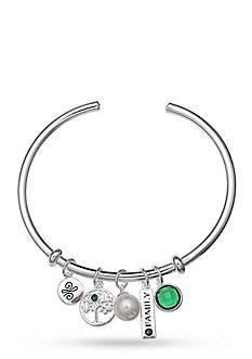 Belk Silverworks Fine Silver Plate Family Multi Charm Bangle Bracelet