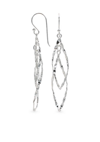 Belk Silverworks Hammered Double Teardrop Earrings