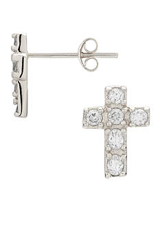 Belk Silverworks Cubic Zirconia Cross Stud Earrings