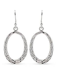 Belk Silverworks Diamond Cut Flat Oval Drop Earring