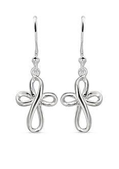 Belk Silverworks Sterling Silver Ribbon Cross Drop Earrings