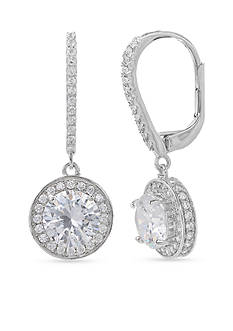 Belk Silverworks Simply Sterling Round Pave Cubic Zirconia Drop Earrings