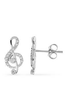 Belk Silverworks Simply Sterling Music Note Stud Earrings
