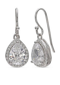Belk Silverworks Simply Sterling Pave Cubic Zirconia Pear Drop Earrings