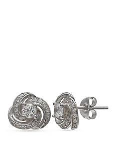 Belk Silverworks Simply Sterling Pave Cubic Zirconia Love Knot Stud Earrings