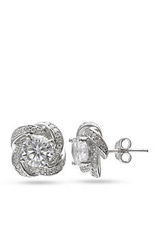 Belk Silverworks Pave Cubic Zirconia Love Knot Floral Stud Earrings