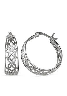 Belk Silverworks Simply Sterling Floral Filigree Hoop Earrings