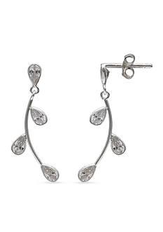 Belk Silverworks Sterling Silver Cubic Zirconia Pear Vine Linear Earrings