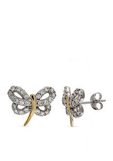 Belk Silverworks Two-Tone Cubic Zirconia Dragonfly Stud Earrings