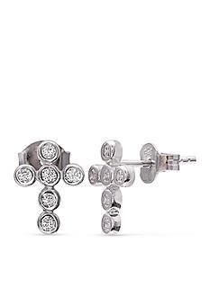 Belk Silverworks Sterling Silver Cubic Zirconia Cross Stud Earrings