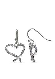 Belk Silverworks Sterling Silver Pave Cz Open Heart Drop Earrings