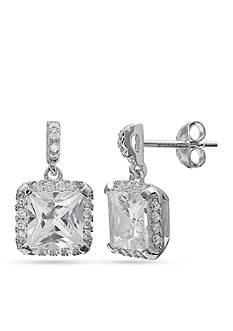 Belk Silverworks Sterling Silver Pave Cz Princess Drop Earrings