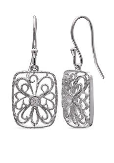 Belk Silverworks Filigree Cubic Zirconia Rectangle Drop Earrings