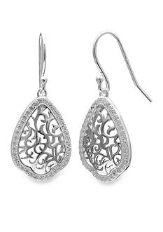 Belk Silverworks Sterling Silver Pave Filigree Drop Earrings