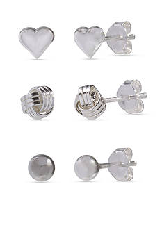 Belk Silverworks Simply Sterling Trio Set Ball Heart and Loveknot Stud Earrings