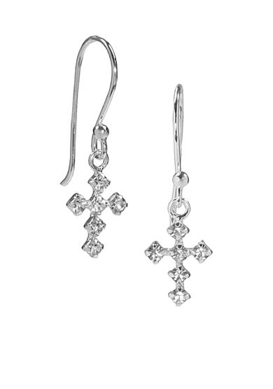 Belk Silverworks Crystal Cross Drop Earrings