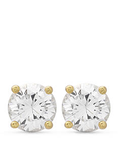 Belk Silverworks 24k Gold Over Sterling Silver Cubic Zirconia Stud Earrings