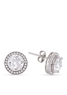 Belk Silverworks Round Cubic Zirconia Halo Stud Earrings