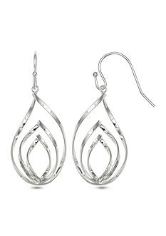 Belk Silverworks Fine Silver Plated Triple Twist Teardrop Earrings