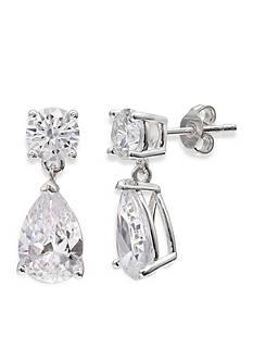 Belk Silverworks Fine Silver Plated Statement Teardrop Cubic Zirconia Boxed Earring