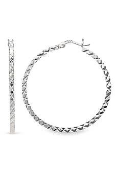 Belk Silverworks Fine Silver Plated Diamond Cut Hoop Earring